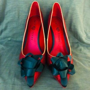 Katy Perry red glitter holiday bow pumps